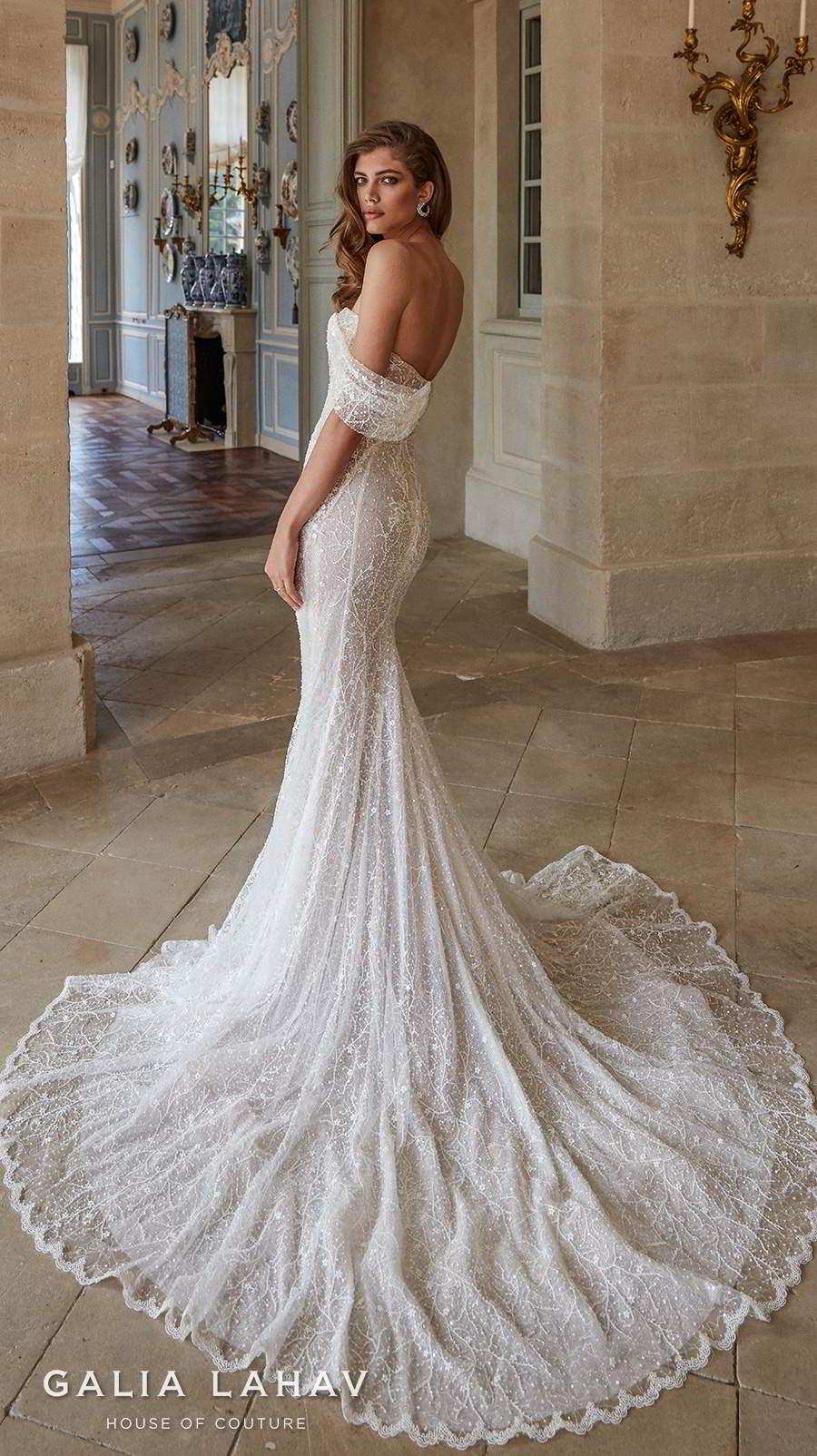 galia lahav fall 2020 bridal one shoulder sweetheart neckline full embellishment glamorous sexy fit and flare wedding dress mid back chapel train (simone) bv