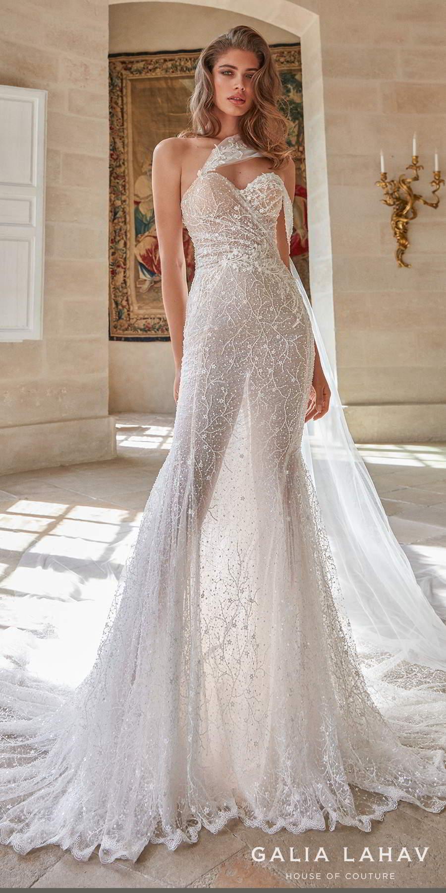 galia lahav fall 2020 bridal one shoulder sweetheart neckline full embellishment glamorous sexy fit and flare wedding dress mid back chapel train (simone) lv