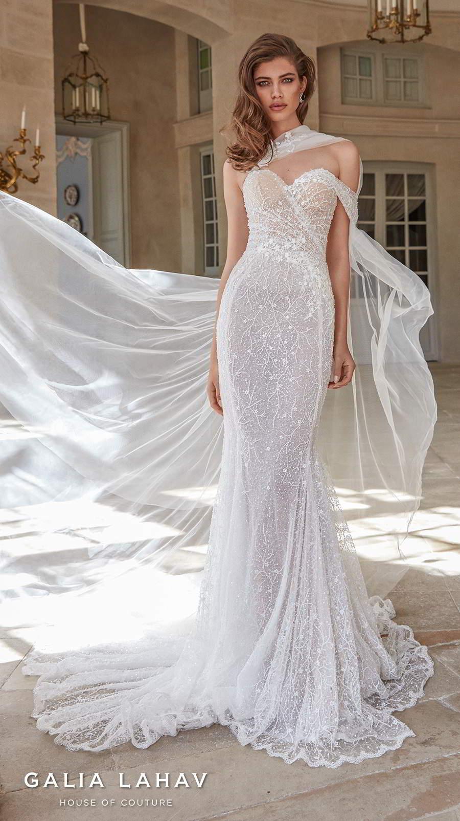 galia lahav fall 2020 bridal one shoulder sweetheart neckline full embellishment glamorous sexy fit and flare wedding dress mid back chapel train (simone) mv
