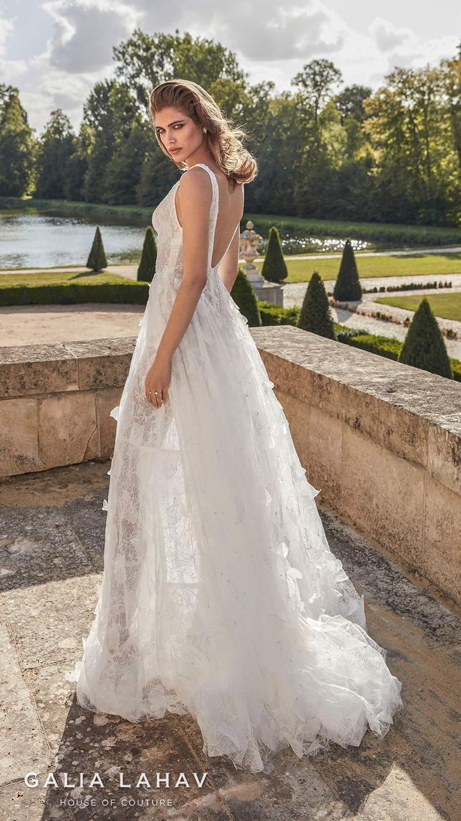 galia lahav fall 2020 bridal sleeveless deep plunging v neck full embellishment romantic a  line wedding dress backless scoop back sweep train (priyanka) bv