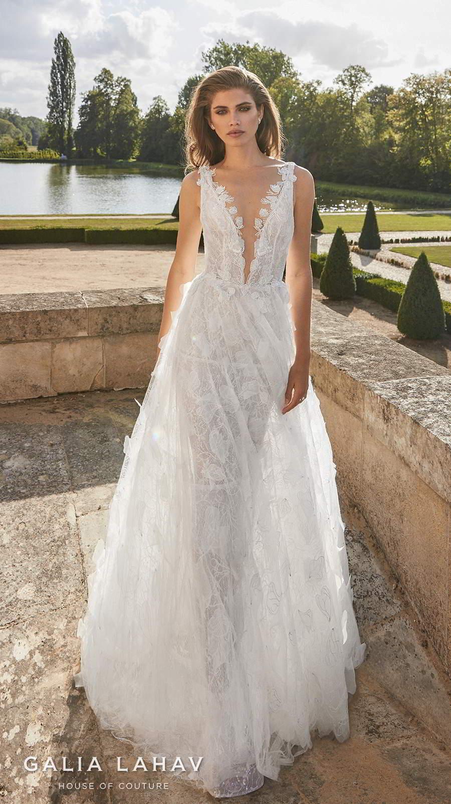 galia lahav fall 2020 bridal sleeveless deep plunging v neck full embellishment romantic a  line wedding dress backless scoop back sweep train (priyanka) mv