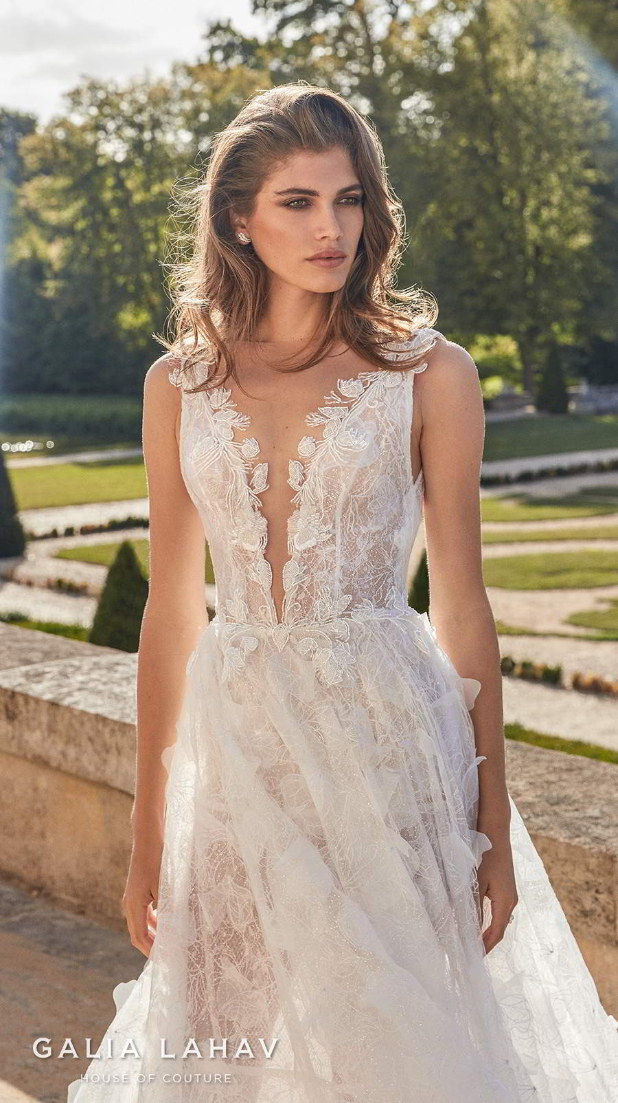 galia lahav fall 2020 bridal sleeveless deep plunging v neck full embellishment romantic a  line wedding dress backless scoop back sweep train (priyanka) zv