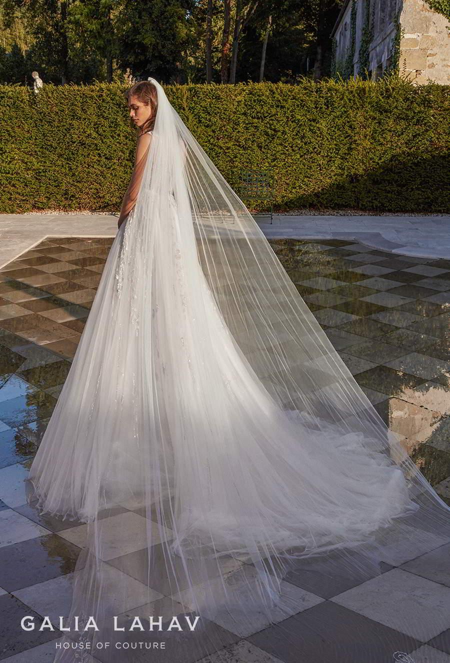 galia lahav fall 2020 bridal sleeveless illusion bateau deep plunging sweetheart neckline heavily embellished bodice romantic a  line wedding dress chapel train (rosa) bv