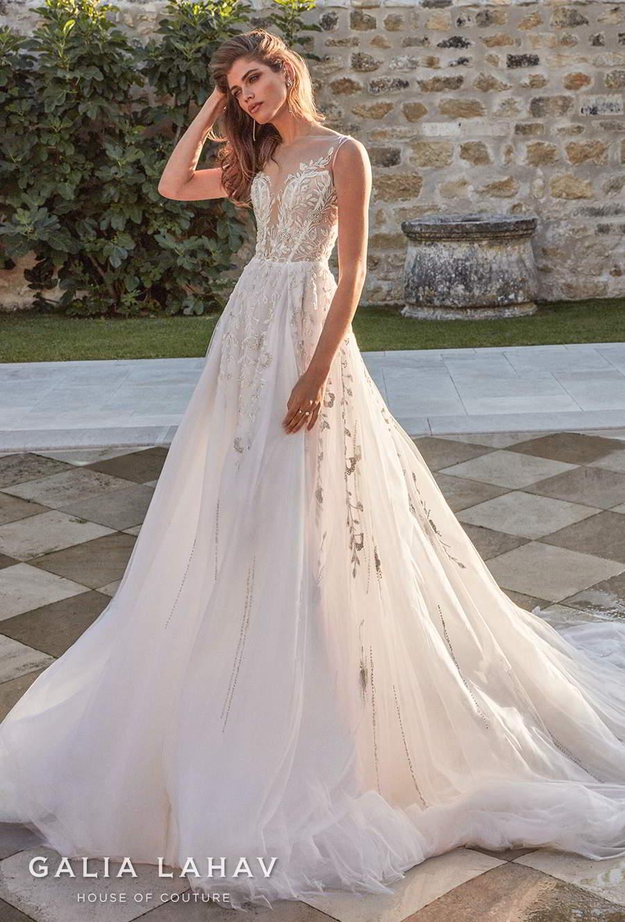 galia lahav fall 2020 bridal sleeveless illusion bateau deep plunging sweetheart neckline heavily embellished bodice romantic a  line wedding dress chapel train (rosa) mv
