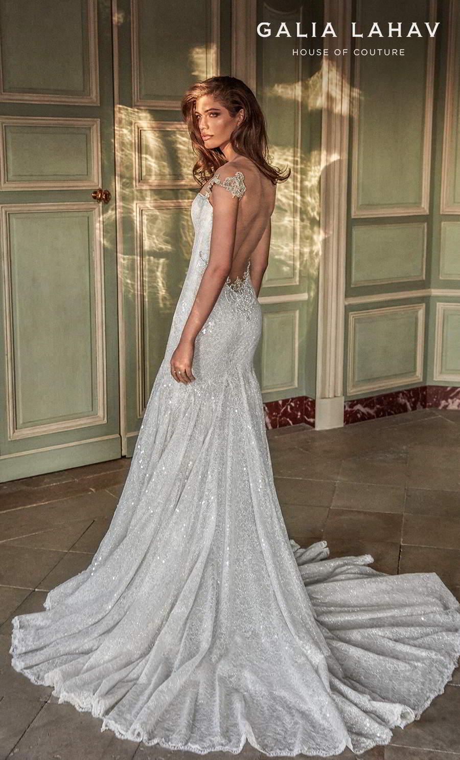 galia lahav fall 2020 bridal sleeveless thin strap sweetheart neckline light embellishment glitter glamorous trumpet wedding dress backless low back medium train (ella) bv