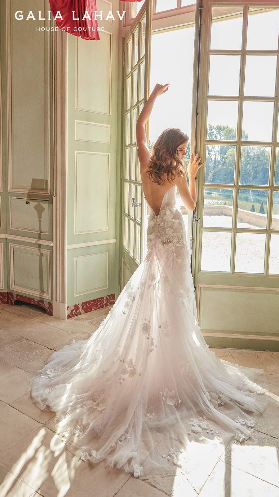 galia lahav fall 2020 bridal strapless deep plunging sweetheart neckline heavily embellished bodice slit skirt sexy fit and flare wedding dress backless low back chapel train (ruth) bv