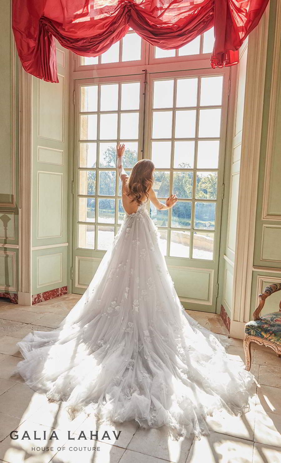 galia lahav fall 2020 bridal strapless plunging sweetheart neckline heavily embellished bodice slit skirt fit and flare wedding dress a  line overskirt low back chapel train (ruth) bv