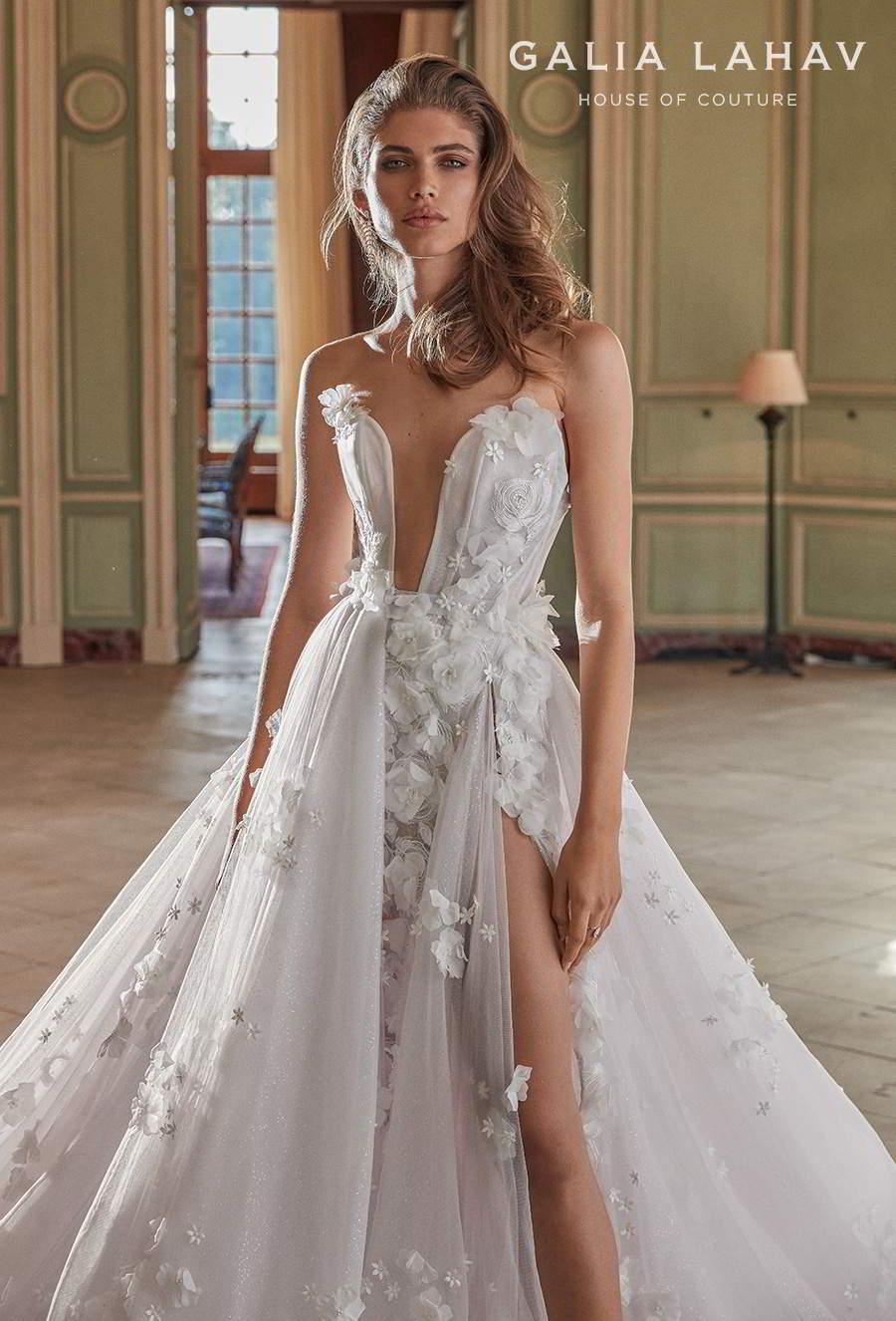 galia lahav fall 2020 bridal strapless plunging sweetheart neckline heavily embellished bodice slit skirt fit and flare wedding dress a  line overskirt low back chapel train (ruth) mv zv