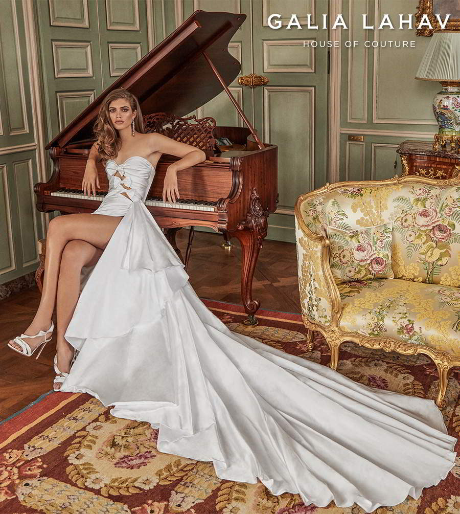galia lahav fall 2020 bridal strapless sweetheart neckline cutout ruched bodice slit skirt sexy modern sheath wedding dress royal train (margaret) mv