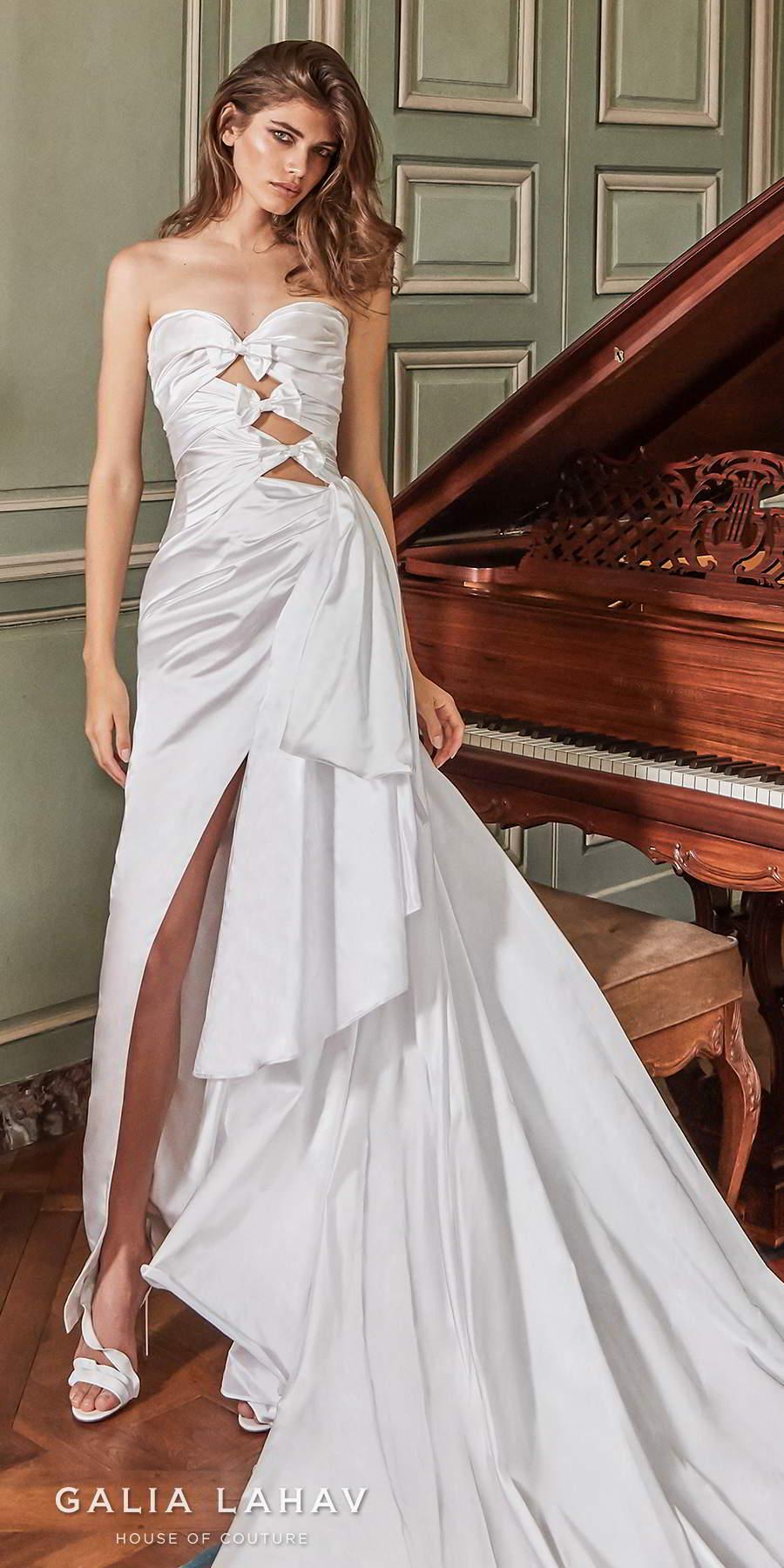 galia lahav fall 2020 bridal strapless sweetheart neckline cutout ruched bodice slit skirt sexy modern sheath wedding dress royal train (margaret) zv