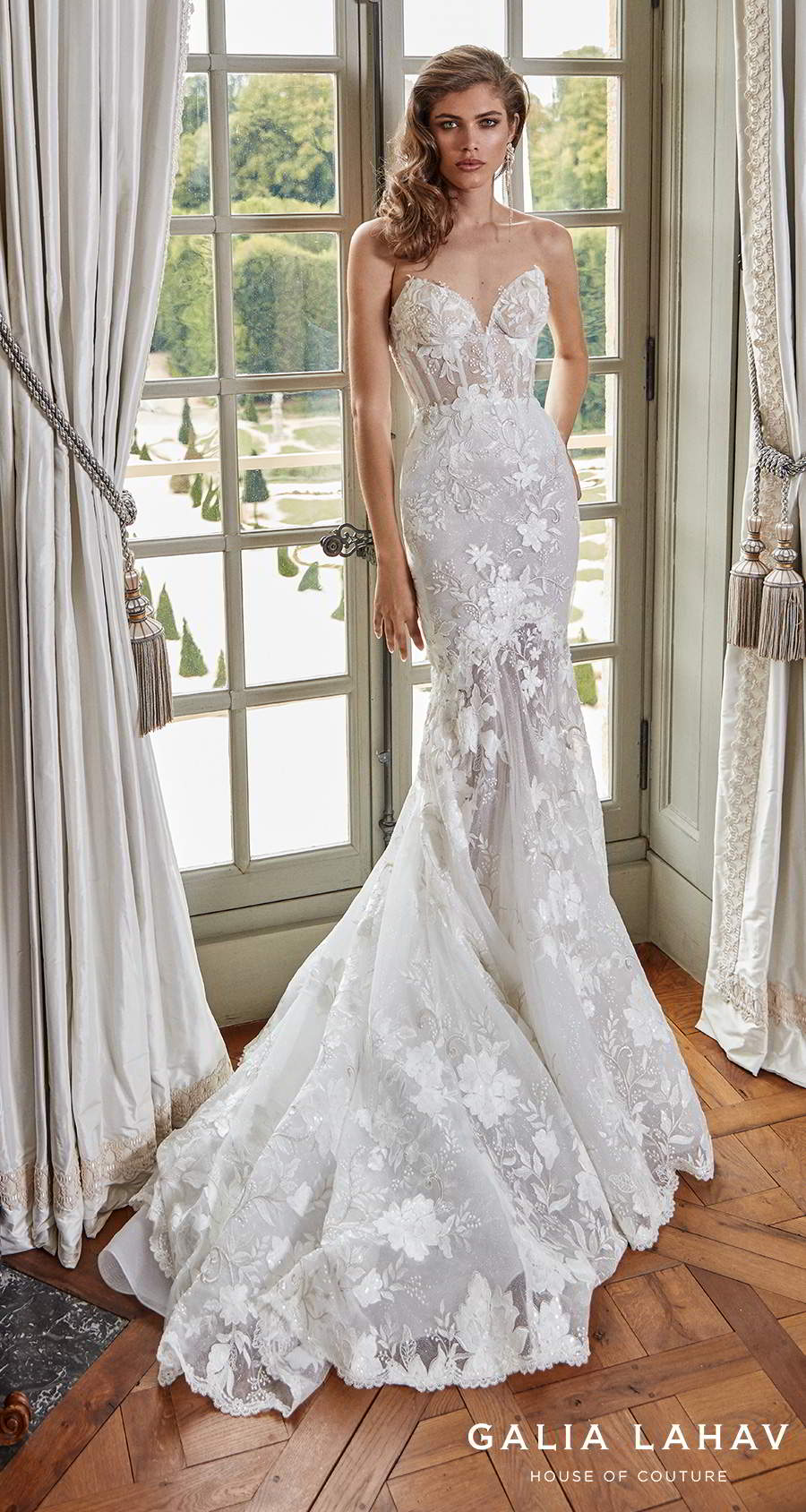 galia lahav fall 2020 bridal strapless sweetheart neckline full embellishment bustier elegant fit and flare wedding dress mid back medium train (judy) mv