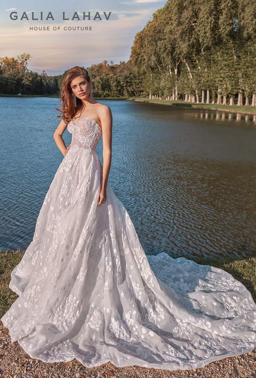 galia lahav fall 2020 bridal strapless sweetheart neckline full embellishment romantic a  line wedding dress mid back chapel train (meghan) mv