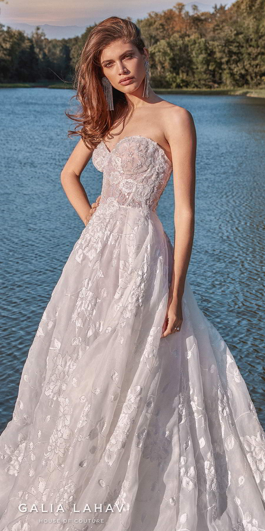 galia lahav fall 2020 bridal strapless sweetheart neckline full embellishment romantic a  line wedding dress mid back chapel train (meghan) zv lv