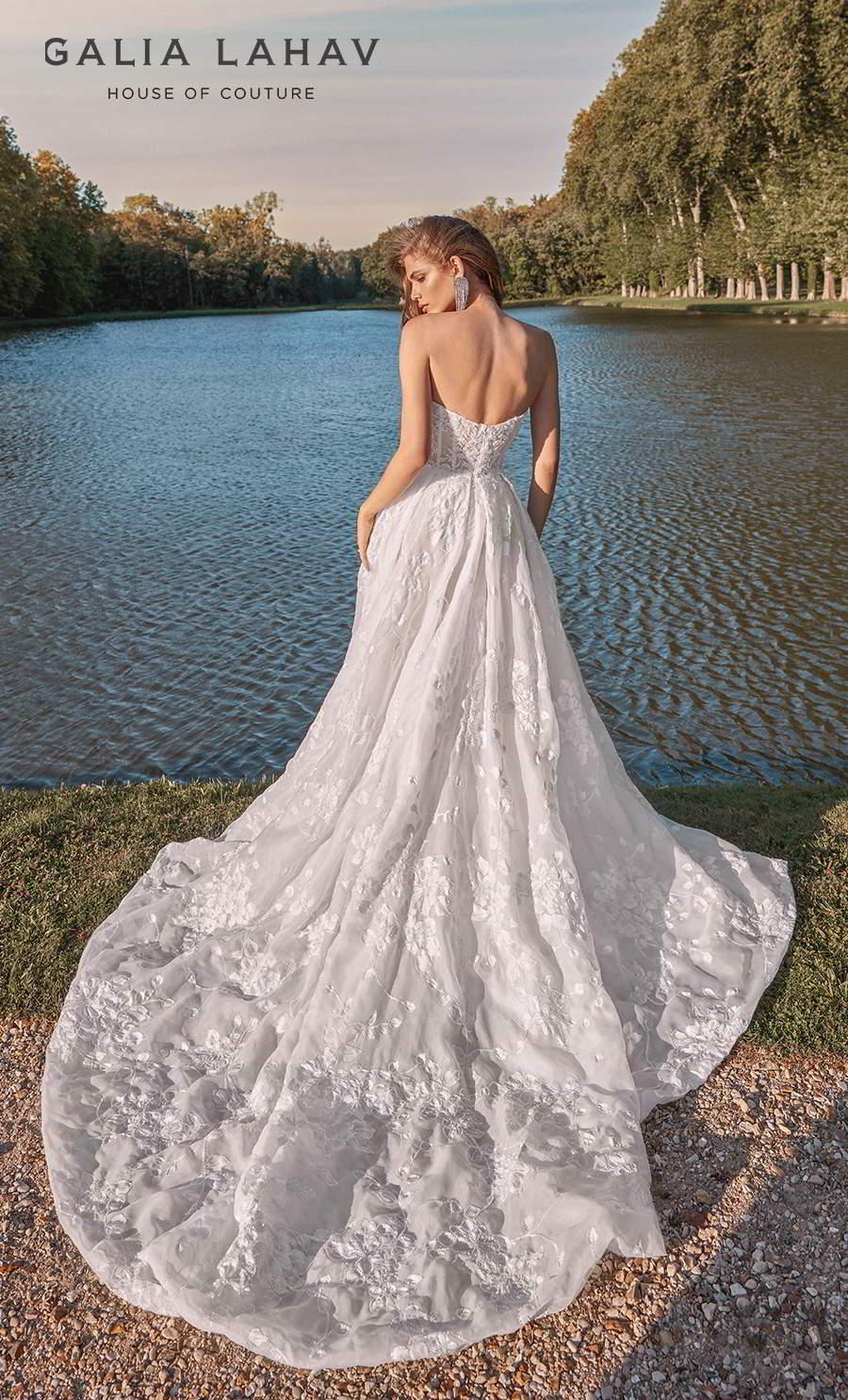 galia lahav fall 2020 bridal strapless sweetheart neckline full embellishment romantic a  line wedding dress with cape mid back chapel train (meghan) bv