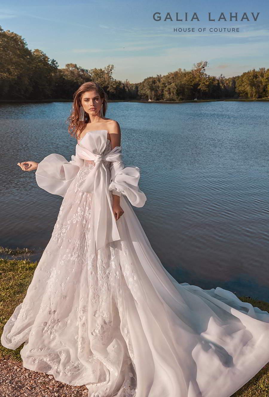 galia lahav fall 2020 bridal strapless sweetheart neckline full embellishment romantic a  line wedding dress with cape mid back chapel train (meghan) mv