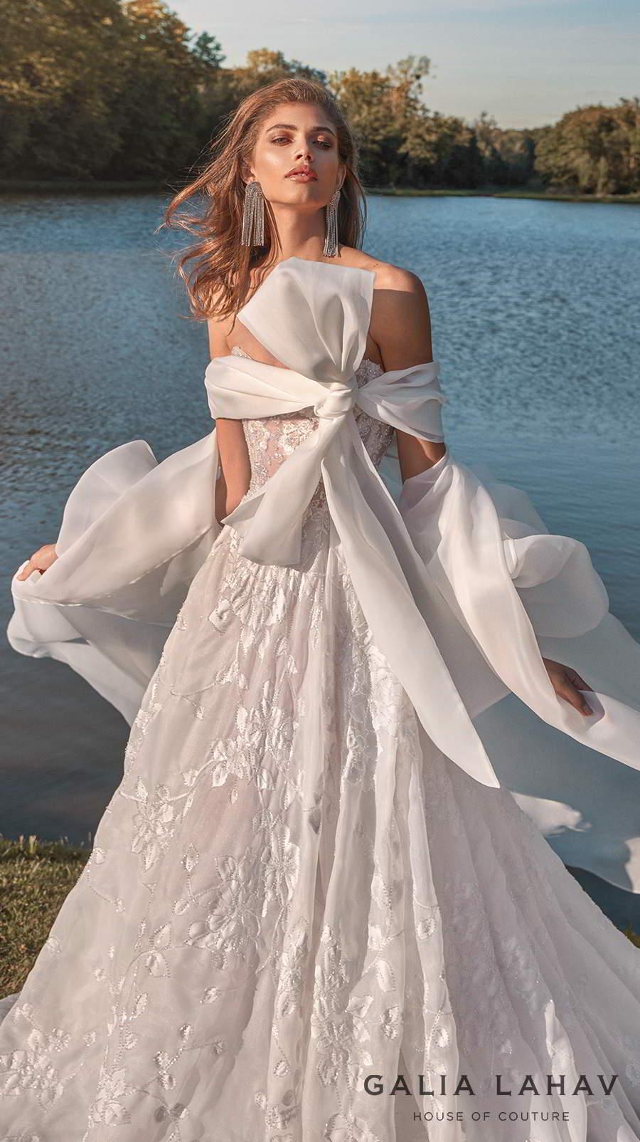 galia lahav fall 2020 bridal strapless sweetheart neckline full embellishment romantic a  line wedding dress with cape mid back chapel train (meghan) zv