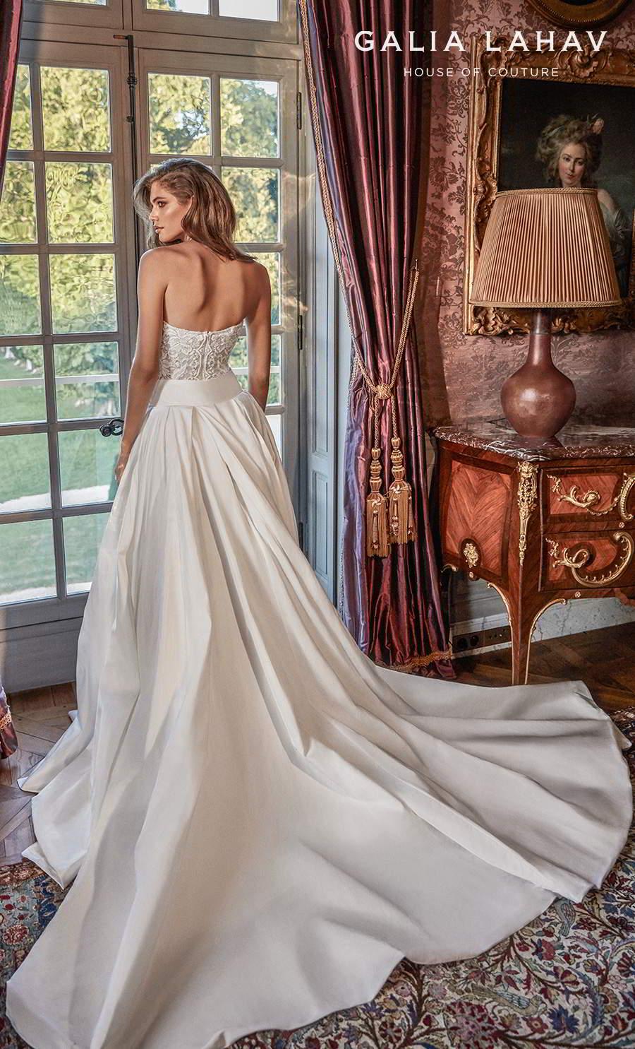 galia lahav fall 2020 bridal strapless sweetheart neckline full embellishment slit skirt sexy romantic sheath wedding dress a  line overskirt mid back chapel train (joanne) bv