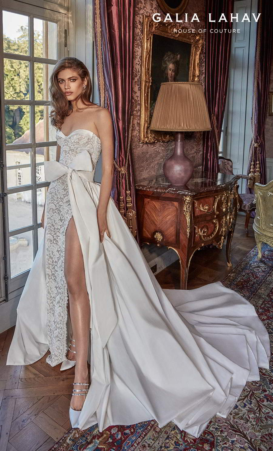 galia lahav fall 2020 bridal strapless sweetheart neckline full embellishment slit skirt sexy romantic sheath wedding dress a line overskirt mid back chapel train (joanne) mv