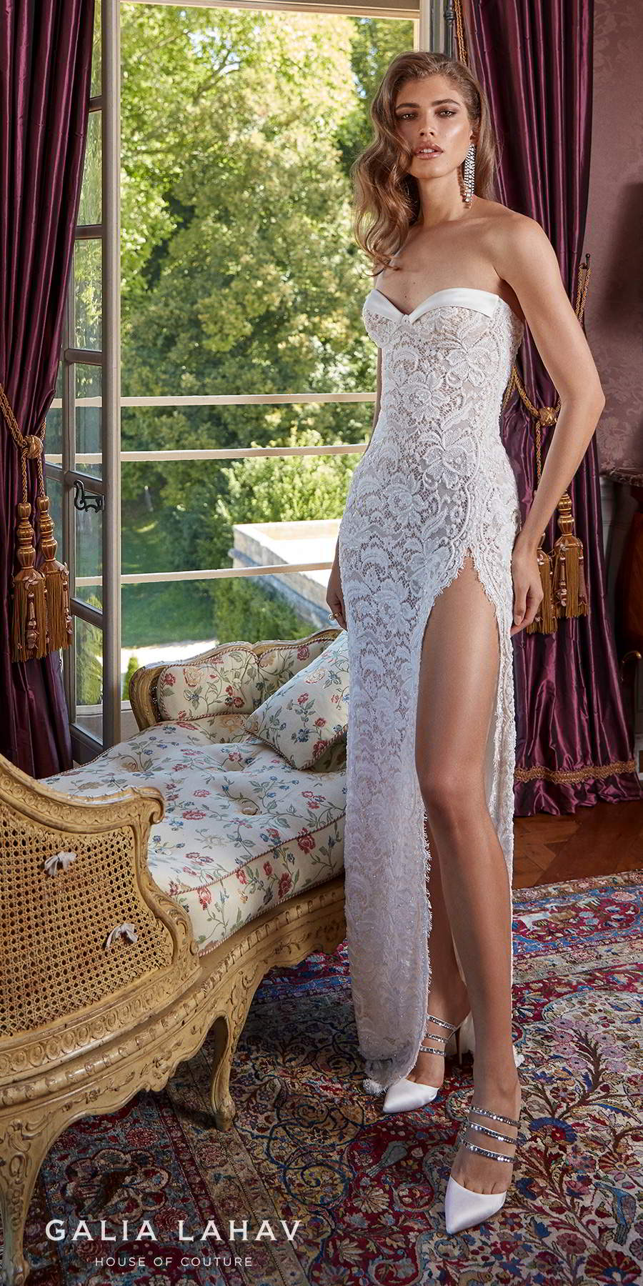 galia lahav fall 2020 bridal strapless sweetheart neckline full embellishment slit skirt sexy sheath wedding dress mid back sweep train (joanne) mv lv