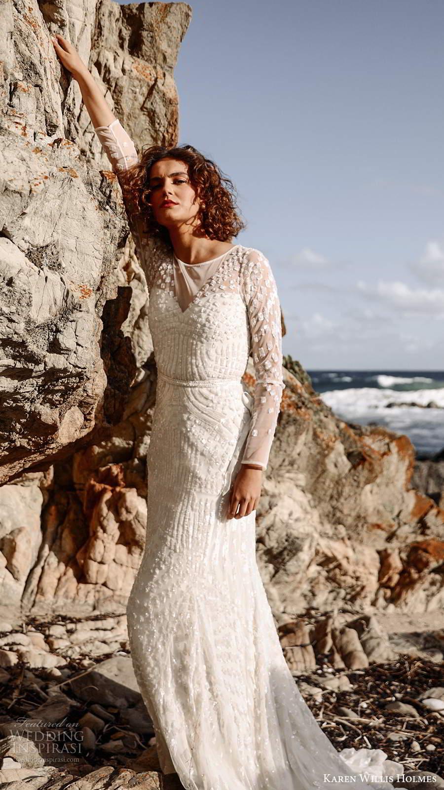 karen willis holmes 2020 bridal illusion long sleeves jewel neckline fully embellished sheath wedding dress chapel train (1) mv