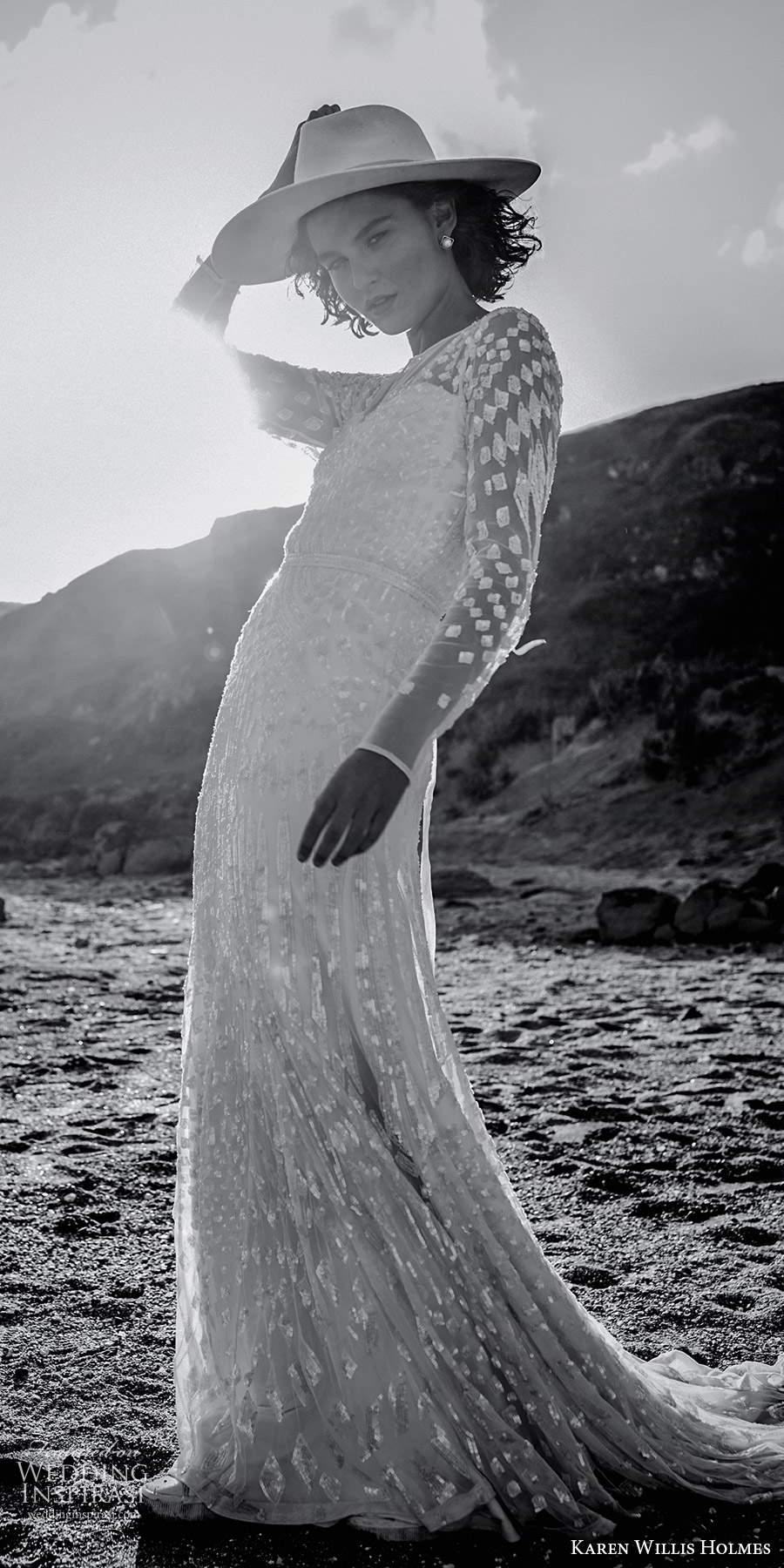 karen willis holmes 2020 bridal illusion long sleeves jewel neckline fully embellished sheath wedding dress chapel train (1) sv