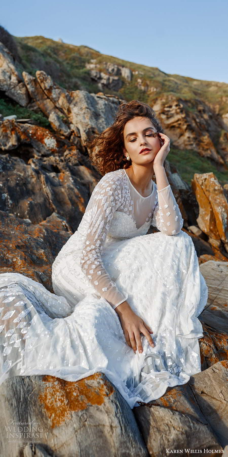 karen willis holmes 2020 bridal illusion long sleeves jewel neckline fully embellished sheath wedding dress chapel train (1) zv