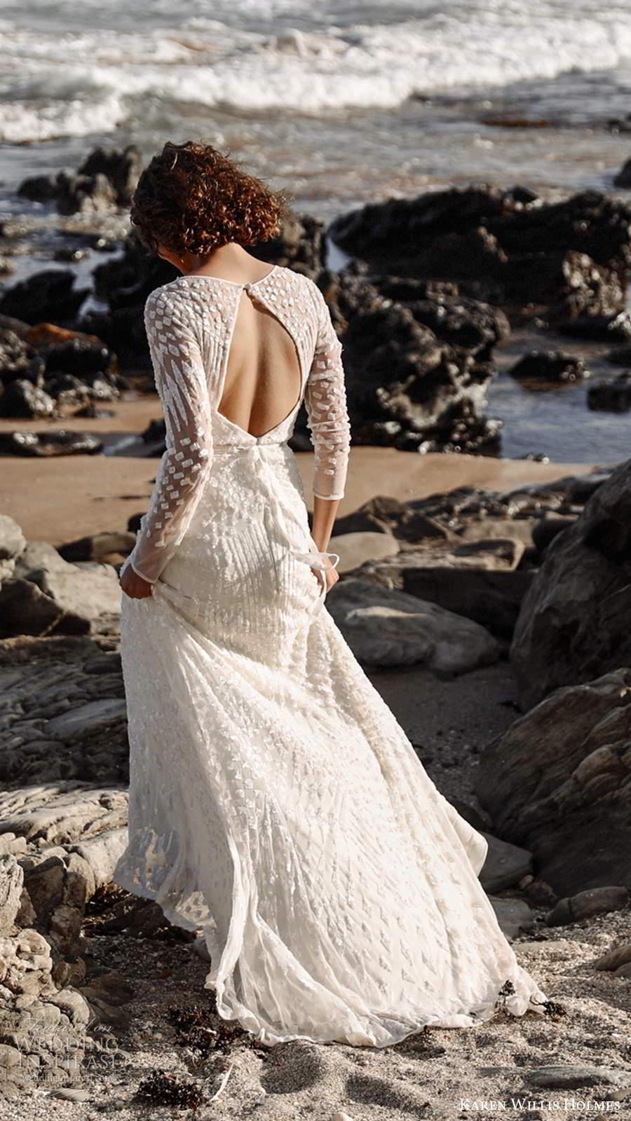 karen willis holmes 2020 bridal illusion long sleeves jewel neckline fully embellished sheath wedding dress keyhole back chapel train (1) bv