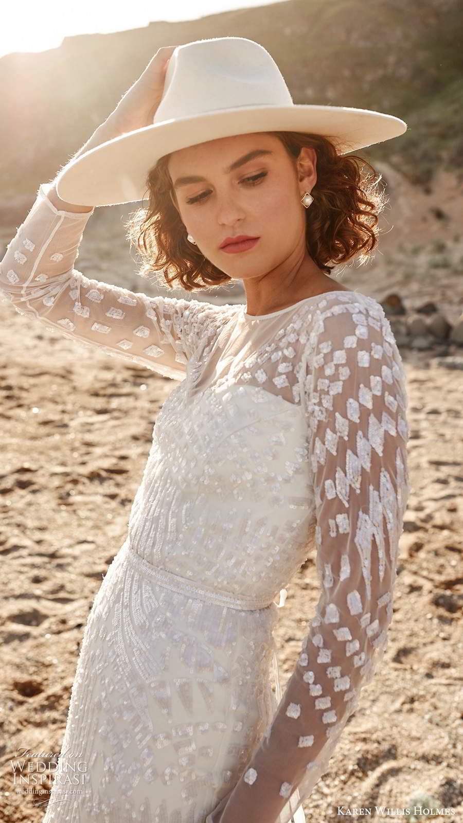 karen willis holmes 2020 bridal illusion long sleeves jewel neckline fully embellished sheath wedding dress keyhole back chapel train (1) zv