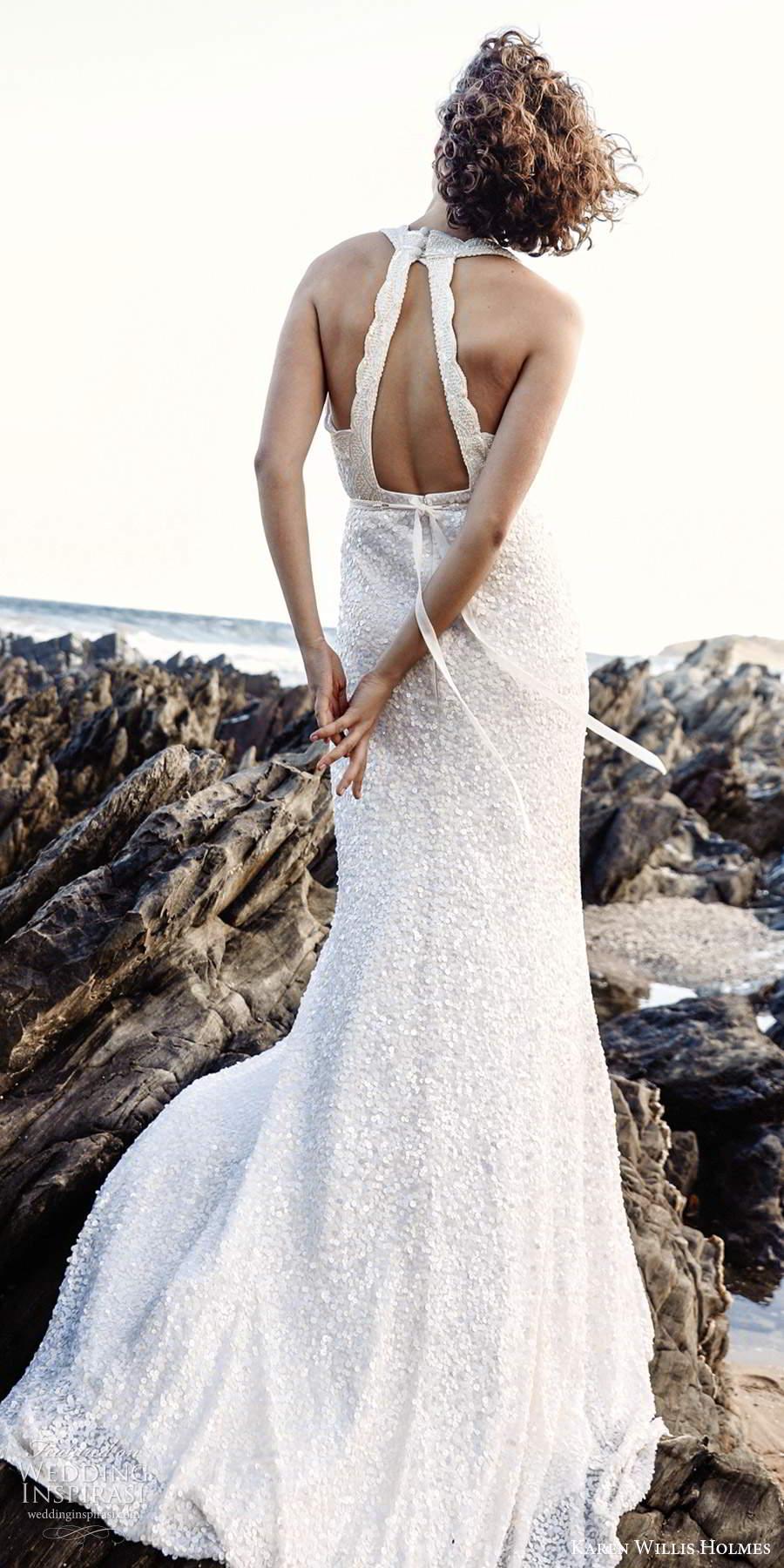 karen willis holmes 2020 bridal sleeveless halter neckline fully embellished sheath wedding dress chapel train (4) bv