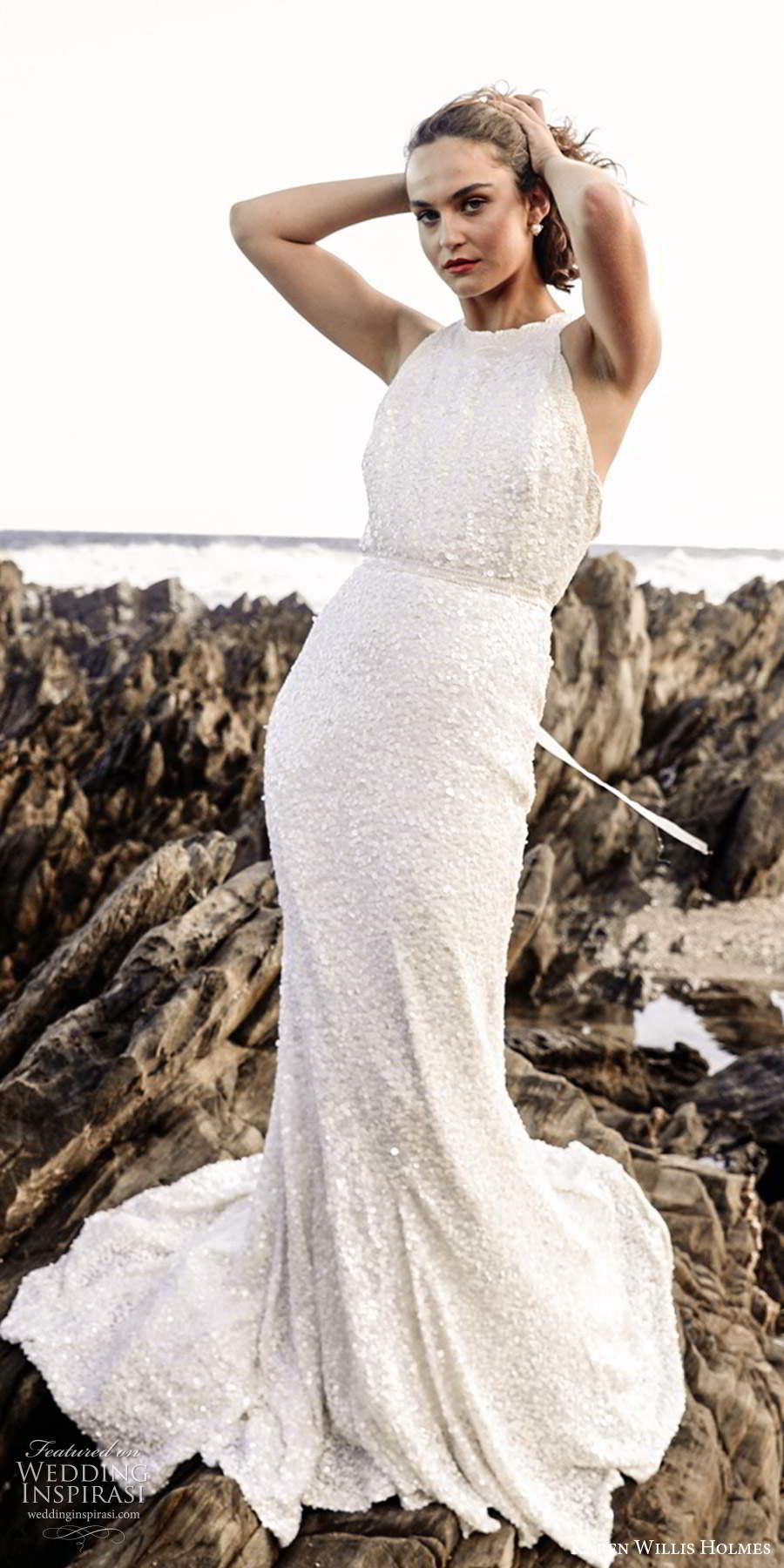 karen willis holmes 2020 bridal sleeveless halter neckline fully embellished sheath wedding dress chapel train (4) fv