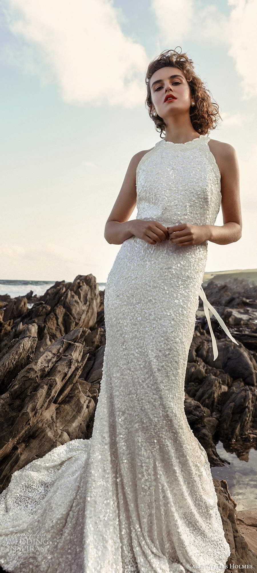 karen willis holmes 2020 bridal sleeveless halter neckline fully embellished sheath wedding dress chapel train (4) mv