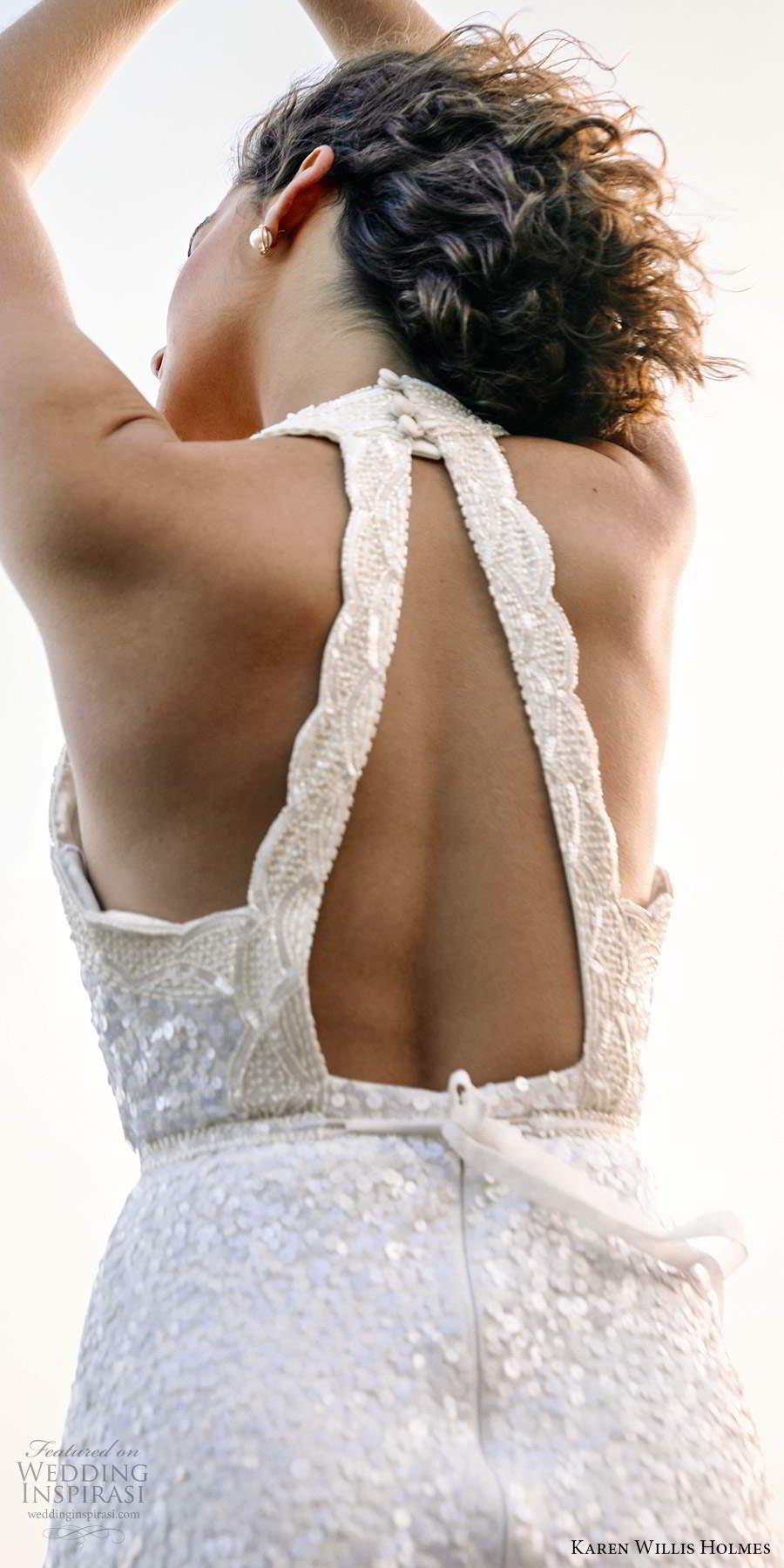 karen willis holmes 2020 bridal sleeveless halter neckline fully embellished sheath wedding dress chapel train (4) zbv