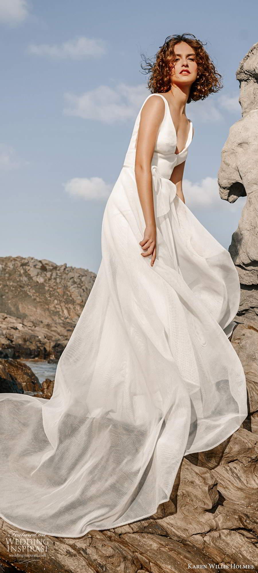 karen willis holmes 2020 bridal sleeveless straps v neckline clean minimally embellished a line ball gown wedding dress chapel train (3) mv