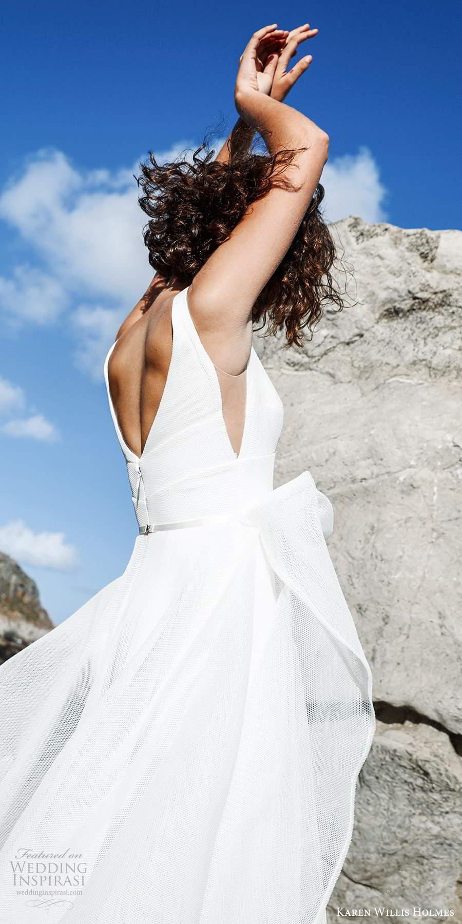 karen willis holmes 2020 bridal sleeveless straps v neckline clean minimally embellished a line ball gown wedding dress chapel train (3) zbv