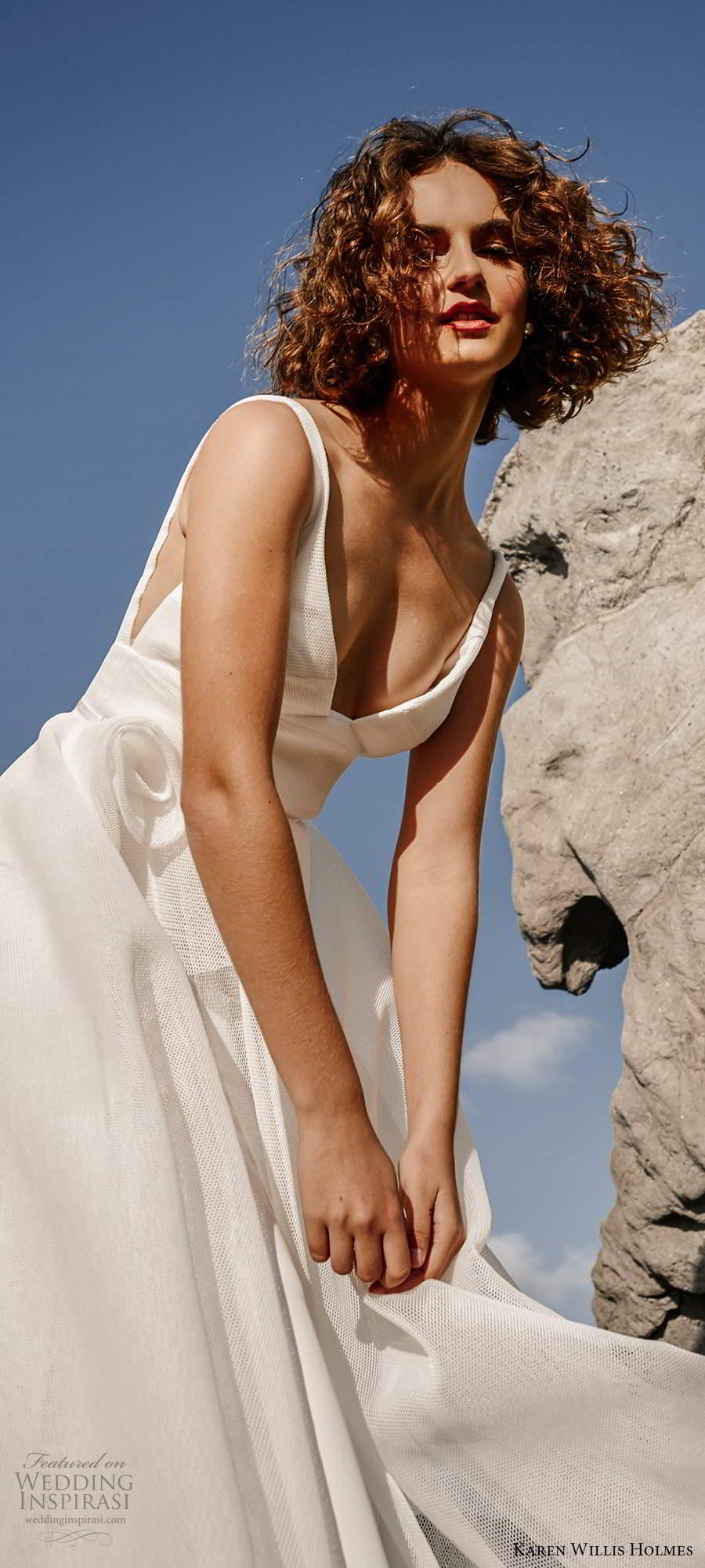 karen willis holmes 2020 bridal sleeveless straps v neckline clean minimally embellished a line ball gown wedding dress chapel train (3) zv
