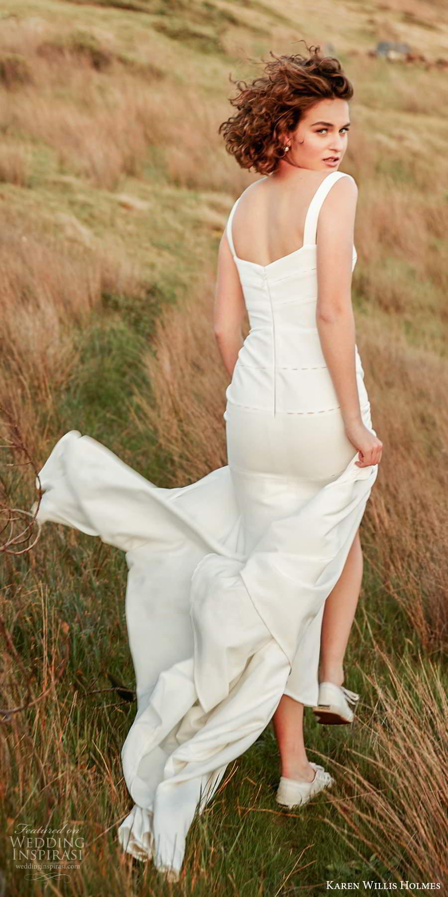 karen willis holmes 2020 bridal sleeveless thick straps straight across neckline clean minimally embellished fit flare mermaid wedding dress slit skirt sweep train (5) bv