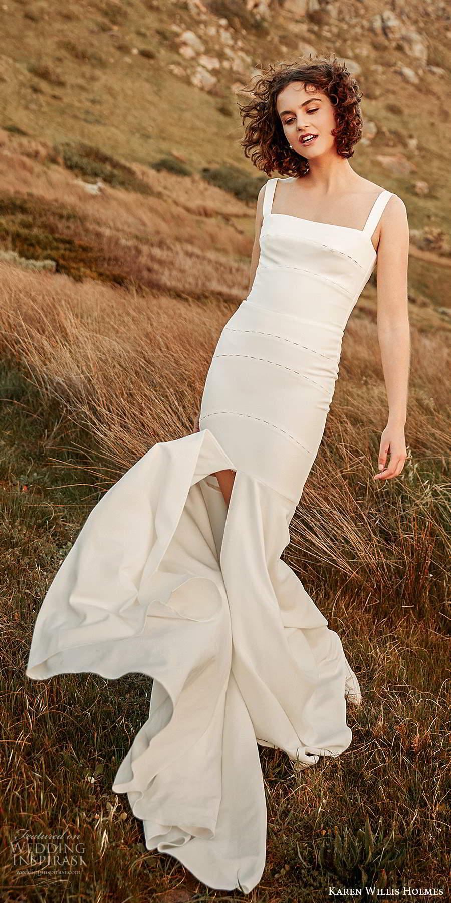 karen willis holmes 2020 bridal sleeveless thick straps straight across neckline clean minimally embellished fit flare mermaid wedding dress slit skirt sweep train (5) mv