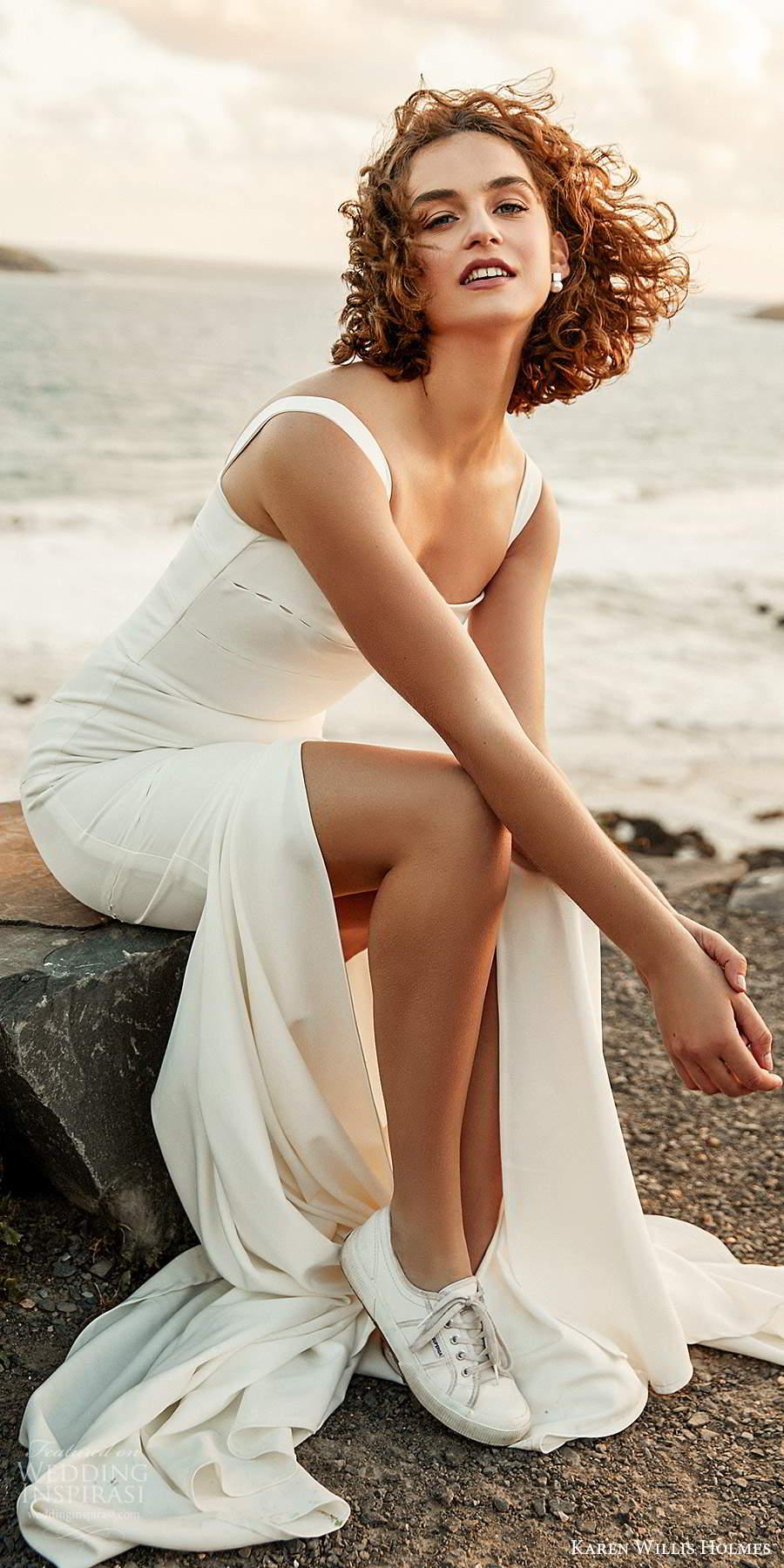 karen willis holmes 2020 bridal sleeveless thick straps straight across neckline clean minimally embellished fit flare mermaid wedding dress slit skirt sweep train (5) zv