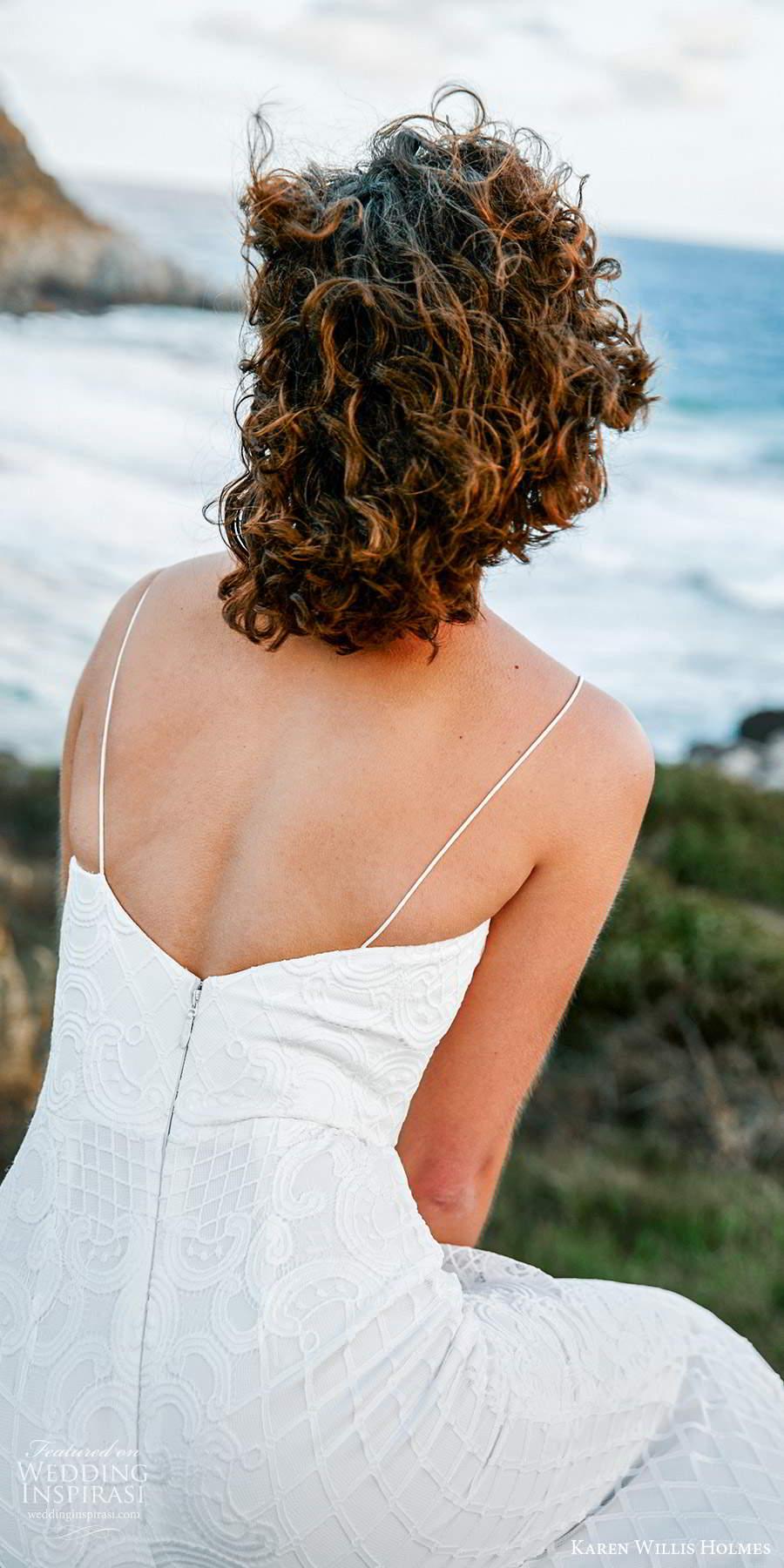 karen willis holmes 2020 bridal sleeveless thin straps v neckline embellished sheath wedding dress chapel train (6) bv