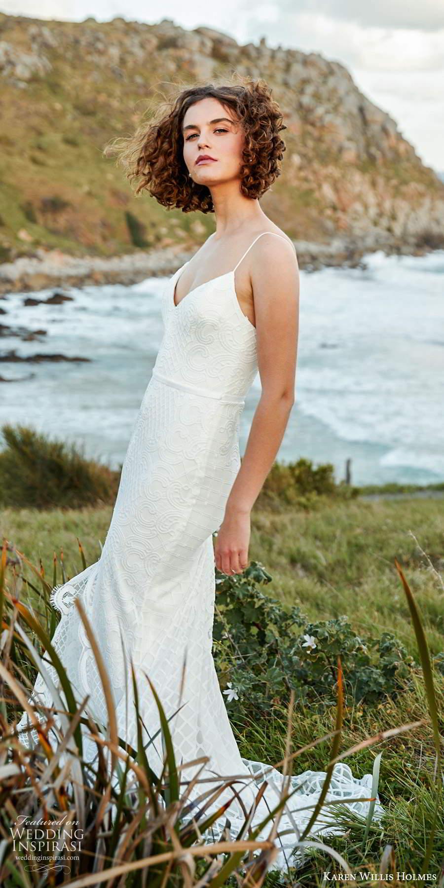karen willis holmes 2020 bridal sleeveless thin straps v neckline embellished sheath wedding dress chapel train (6) sv