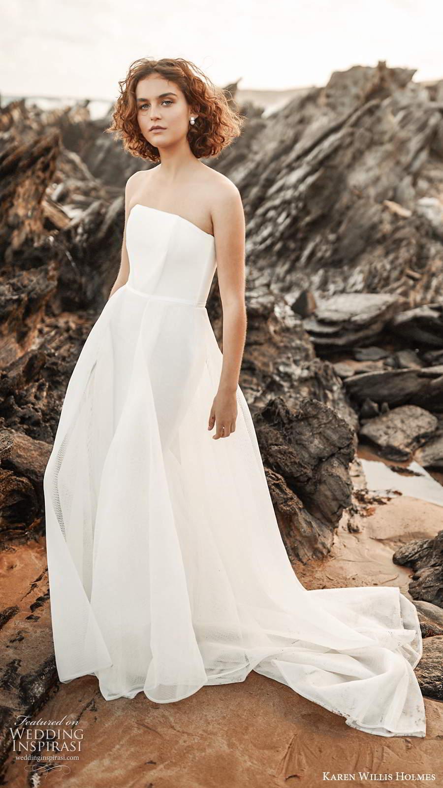 karen willis holmes 2020 bridal strapless straight across neckline clean minimally embellished a line ball gown wedding dress chapel train (2) mv