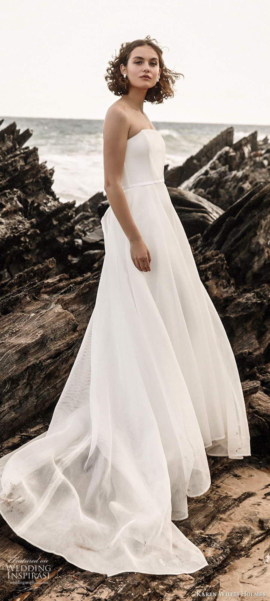 karen willis holmes 2020 bridal strapless straight across neckline clean minimally embellished a line ball gown wedding dress chapel train (2) sv