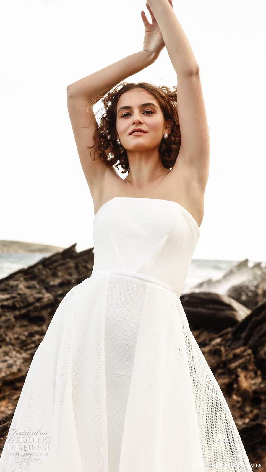karen willis holmes 2020 bridal strapless straight across neckline clean minimally embellished a line ball gown wedding dress chapel train (2) zv