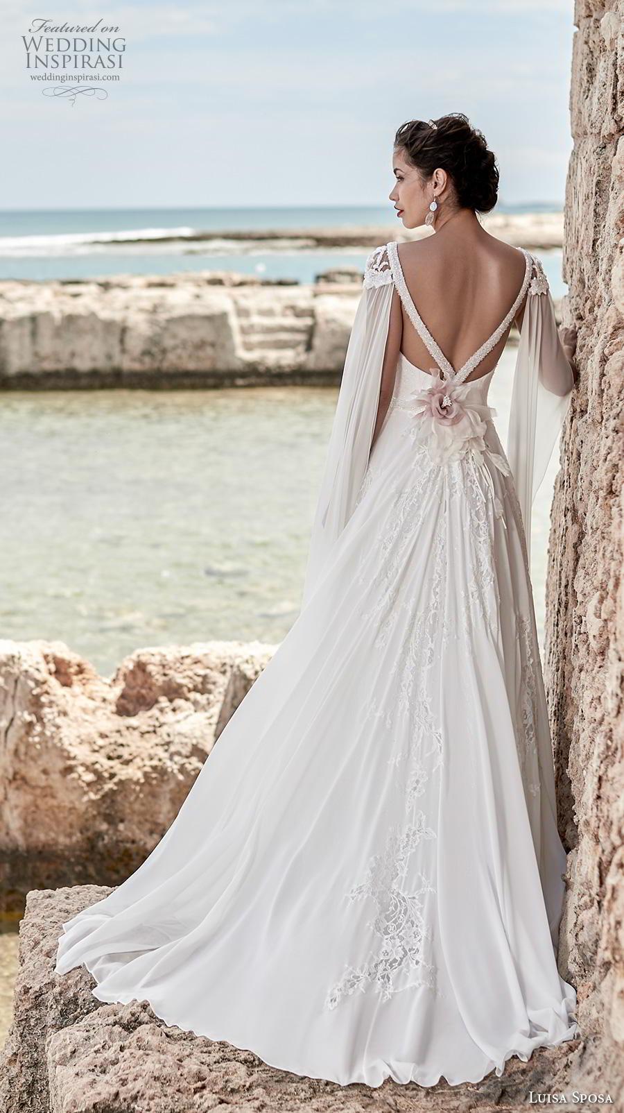 luisa sposa 2020 bridal cap sleeves floor length hanging sleeves deep plunging v neck heavily embellished bodice goddess grecian a  line wedding dress backless sweep train (20) bv
