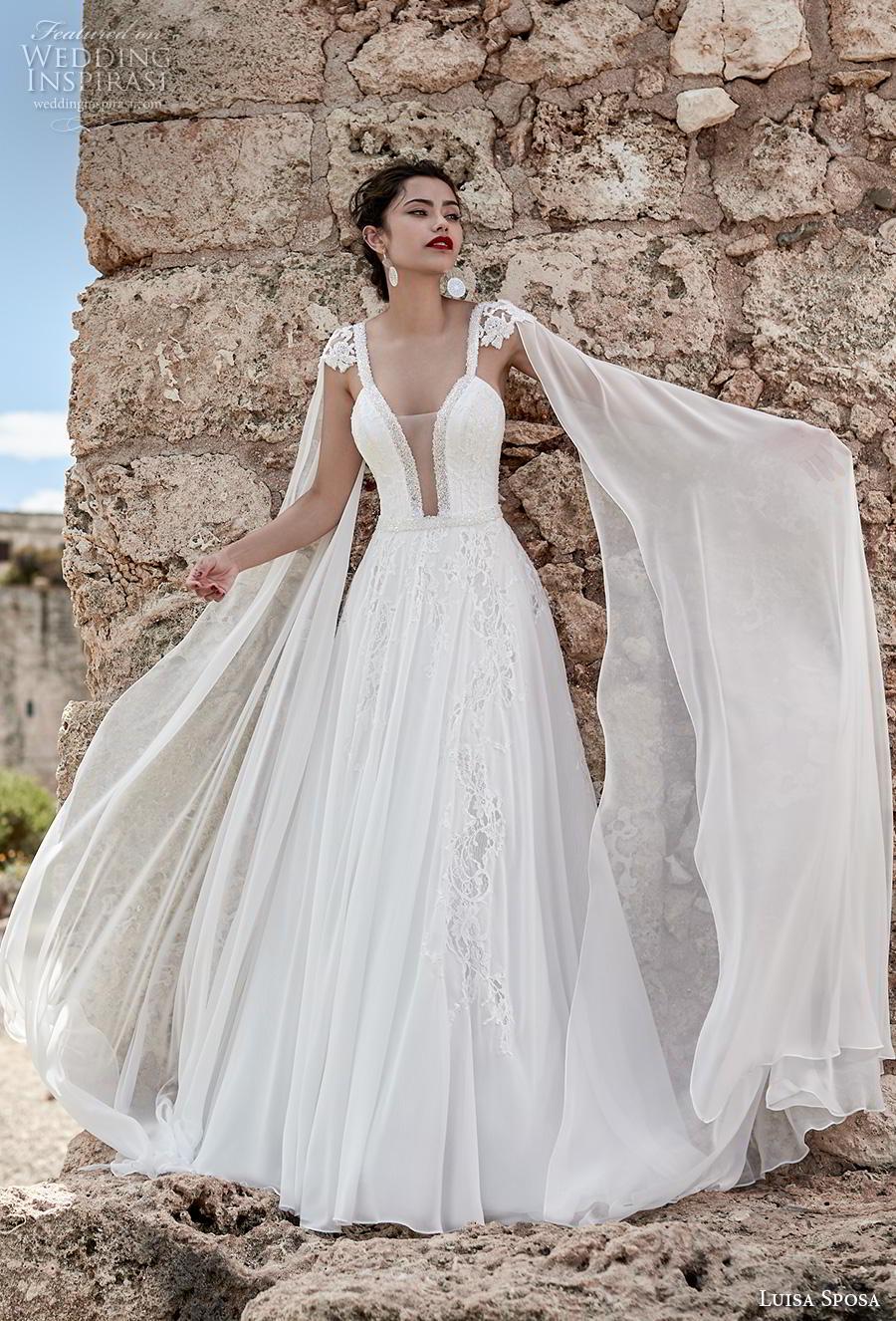 luisa sposa 2020 bridal cap sleeves floor length hanging sleeves deep plunging v neck heavily embellished bodice goddess grecian a  line wedding dress backless sweep train (20) mv