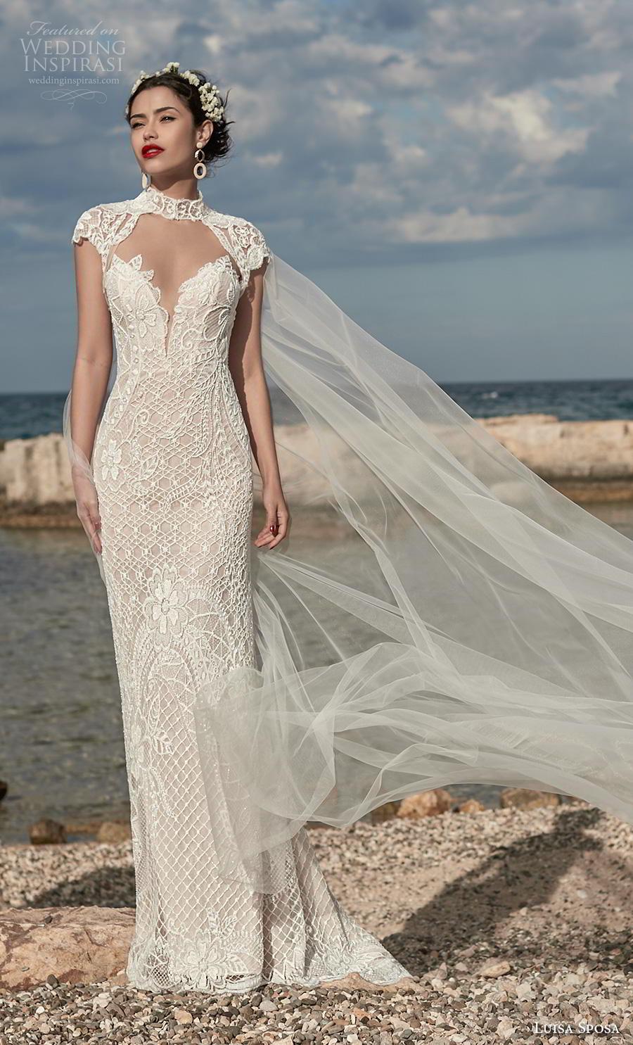 luisa sposa 2020 bridal cap sleeves high neck cut out sweetheart neckline full embellishment elegant sheath wedding dress sweep train (13) mv