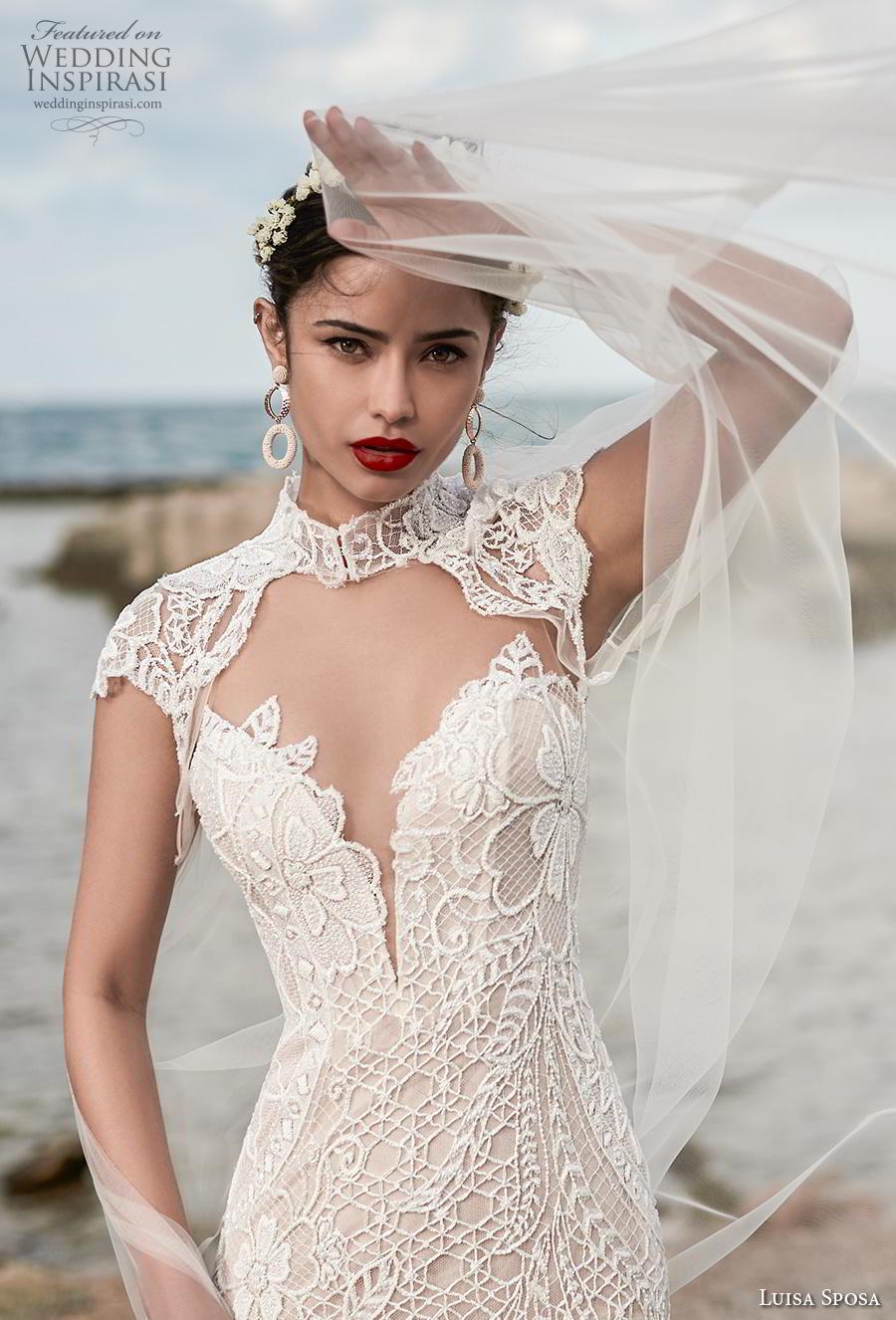 luisa sposa 2020 bridal cap sleeves high neck cut out sweetheart neckline full embellishment elegant sheath wedding dress sweep train (13) zv