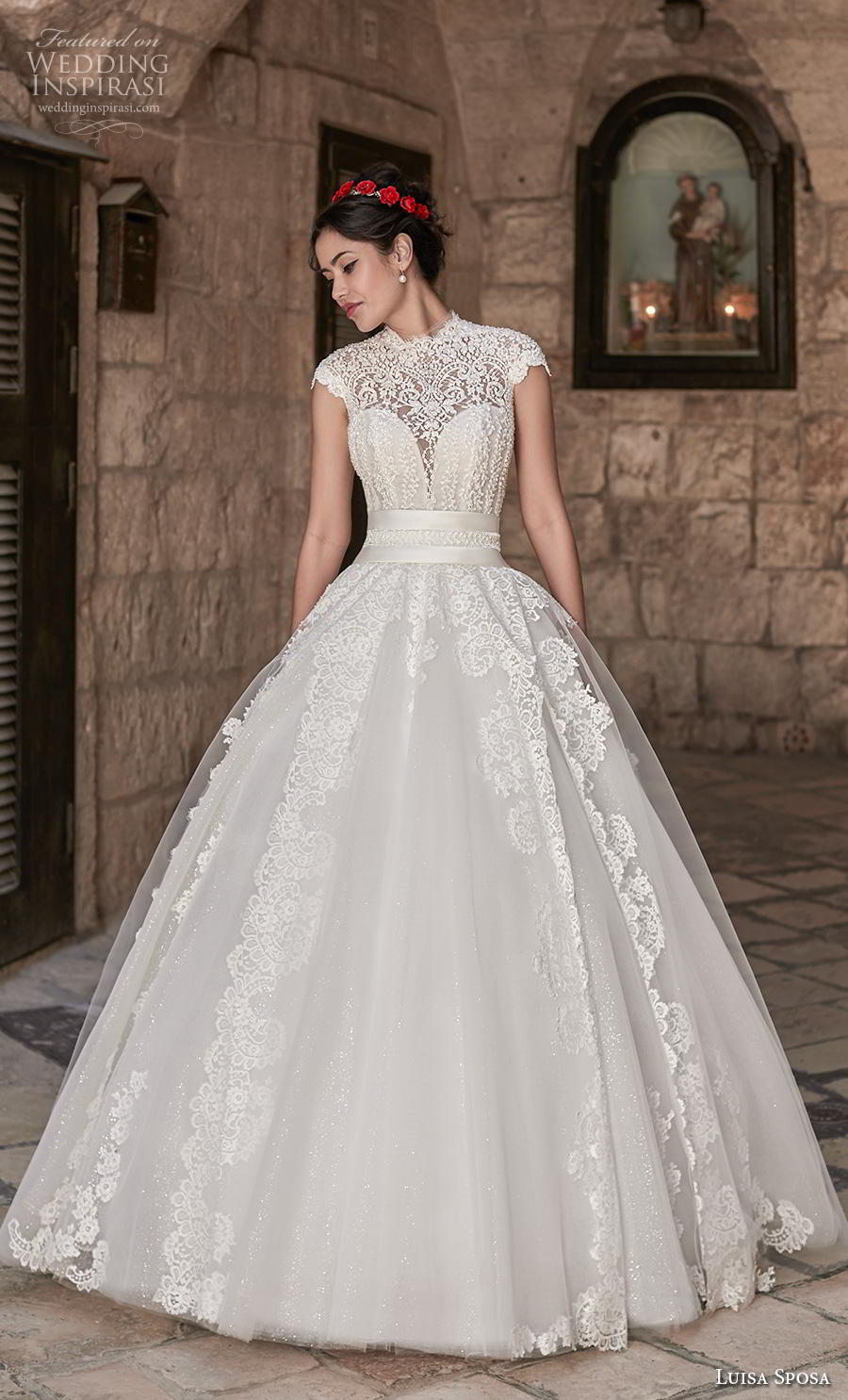 luisa sposa 2020 bridal cap sleeves illusion high neck sweetheart neck heavily embellished bodice princess ball gown a  line wedding dress (3) mv