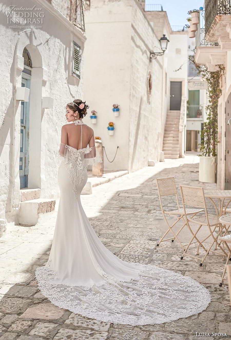 luisa sposa 2020 bridal cold shoulder illusion halter neck sweetheart neckline heavily embellished bodice fit and flare wedding dress sheer button back chapel train (18) bv mv