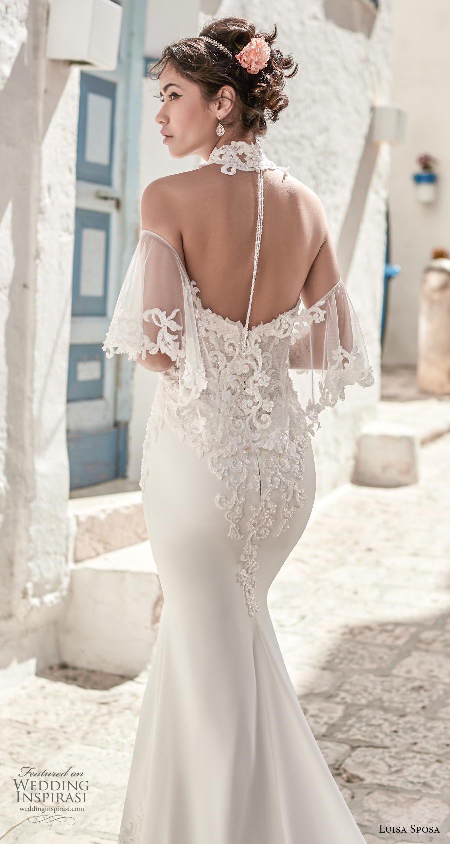 luisa sposa 2020 bridal cold shoulder illusion halter neck sweetheart neckline heavily embellished bodice fit and flare wedding dress sheer button back chapel train (18) zbv